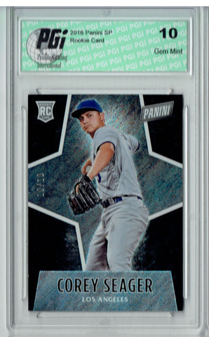 Corey Seager 2016 Panini #68 Glitter SP, 10 Made Rookie Card PGI 10