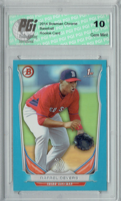 Rafael Devers 2014 Bowman #TP-37 Blue SP, 399 Made Rookie Card PGI 10