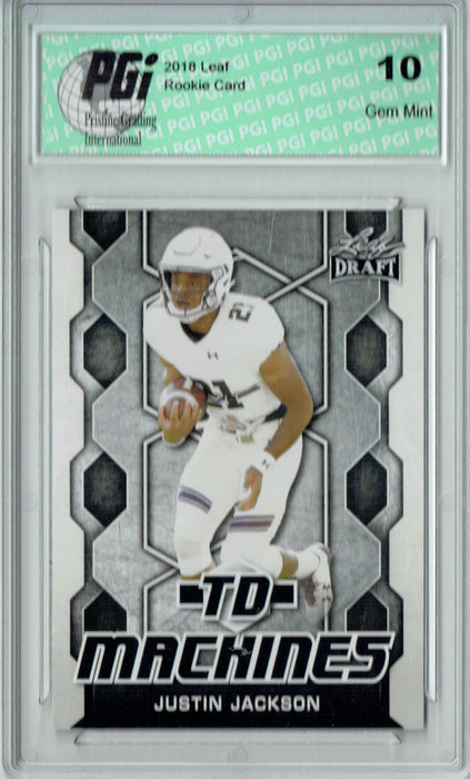 Justin Jackson 2018 Leaf Draft #TD-10 TD Machines Rookie Card PGI 10