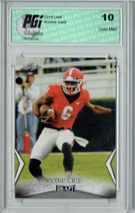 Javon Wims 2018 Leaf Draft #28 Rookie Card PGI 10