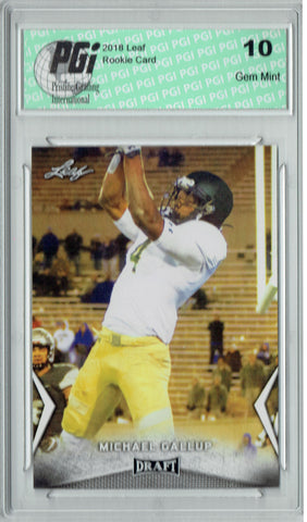 Michael Gallup 2018 Leaf Draft #41 Rookie Card PGI 10