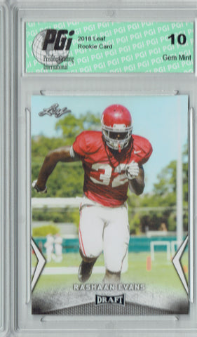 Rashaan Evans 2018 Leaf Draft #48 Rookie Card PGI 10