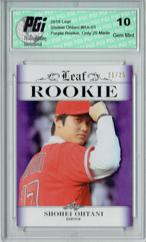 Shohei Ohtani 2018 Leaf #RA-01 Purple SP, #21 of 25 Made Rookie Card PGI 10