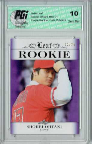Shohei Ohtani 2018 Leaf #RA-22 Purple SP, #22 of 25 Made Rookie Card PGI 10