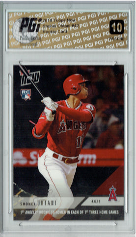 Shohei Ohtani 2018 Topps Now #42 PRISTINE, 3 HR's in a Row Rookie Card PGI 10
