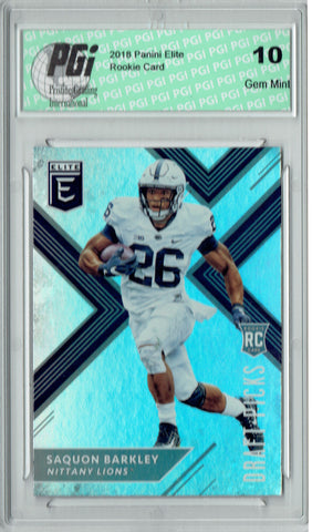 Saquon Barkley 2018 Panini Elite #105 Rookie Card PGI 10
