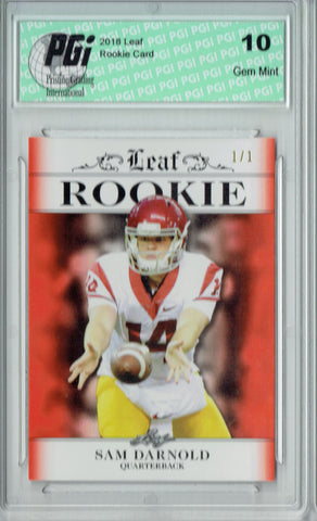 Sam Darnold 2018 Leaf Exclusive #RA-04 Orange Blank Bak 1/1 Rookie Card PGI 10