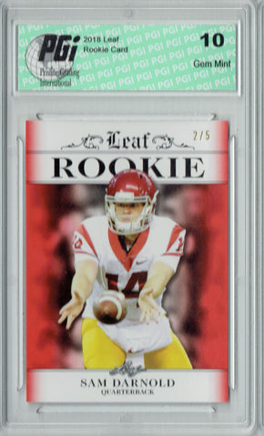 Sam Darnold 2018 Leaf Exclusive #RA-04 Red SP Only 5 Made Rookie Card PGI 10
