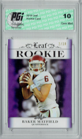 Baker Mayfield 2018 Leaf Exclusive #RA-01 Purple - 10 Made Rookie Card PGI 10
