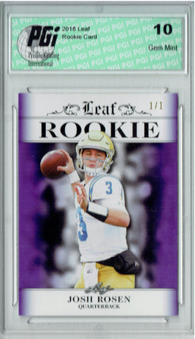 Josh Rosen 2018 Leaf Exclusive #RA-03 Purple Blank Back 1/1 Rookie Card PGI 10