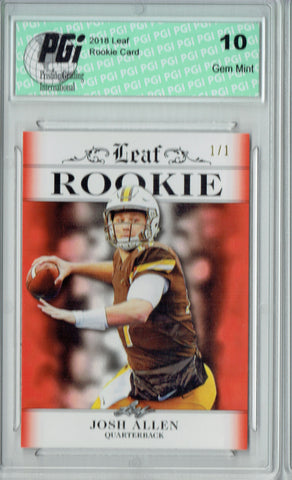 Josh Allen 2018 Leaf Exclusive #RA-02 Orange Blank Back 1/1 Rookie Card PGI 10