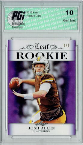 Josh Allen 2018 Leaf Exclusive #RA-02 Purple Blank Back 1/1 Rookie Card PGI 10