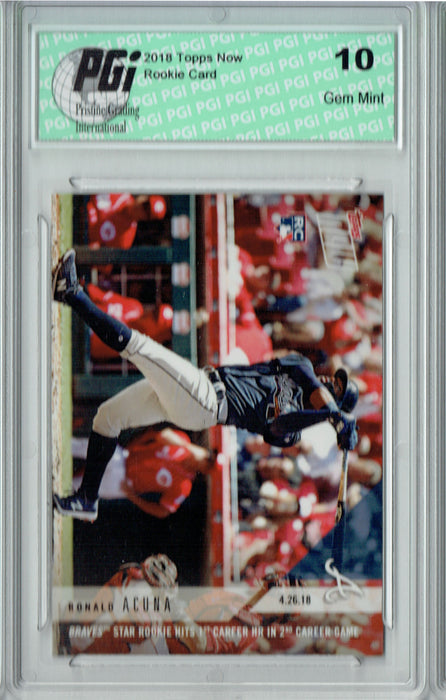 - Ronald Acuna 2018 Topps Now #129 1st HR Only 4,593 Made Rookie Card PGI 10