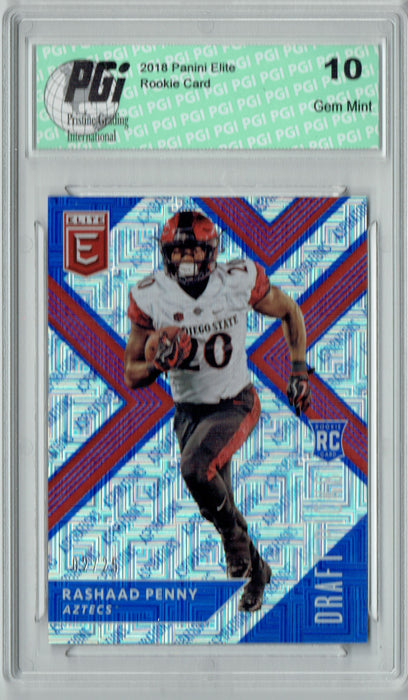 Rashaad Penny 2018 Panini Elite #146 SSP #2/25 Made Rookie Card PGI 10