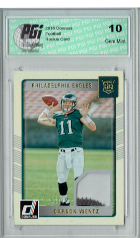 Carson Wentz 2016 Donruss #3 3 Color Patch #2/25 Rookie Card PGI 10