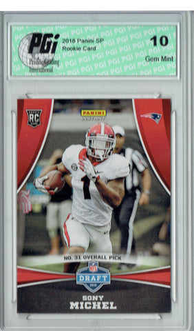 Sony Michel 2018 Panini Draft Night #DP31 Only 77 Made Rookie Card PGI 10