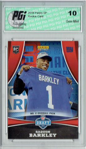 Saquon Barkley 2018 Panini Draft Night #DP2 Only 1330 Made Rookie Card PGI 10