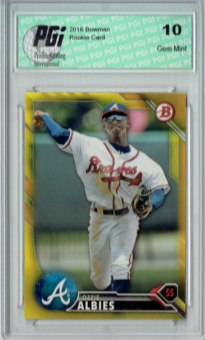 Ozzie Albies 2016 Bowman #BP110 Yellow SP Rookie Card PGI 10