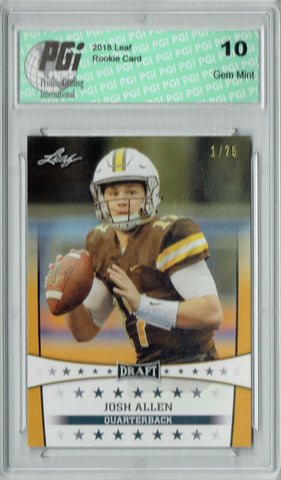 Josh Allen 2018 Leaf Draft #ST-05 Gold SP #1 of 25 Made Rookie Card PGI 10