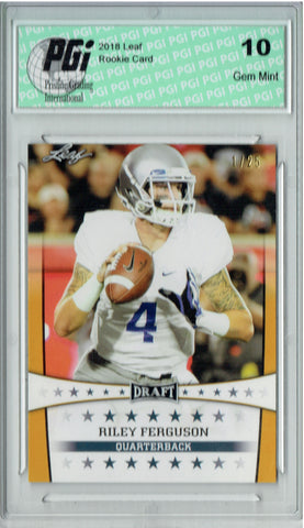 Riley Ferguson 2018 Leaf Draft #ST-21 Gold SP #1 of 25 Made Rookie Card PGI 10