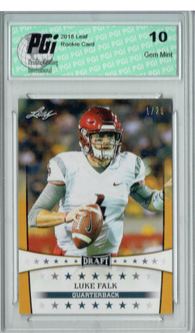 Luke Falk 2018 Leaf Draft #ST-12 Gold SP, #1 of 25 Made Rookie Card PGI 10