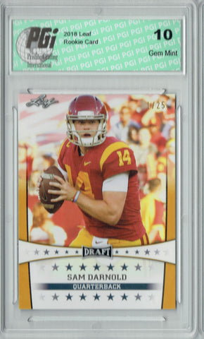 Sam Darnold 2018 Leaf Draft #ST-24 Gold SP, #1 of 25 Made Rookie Card PGI 10
