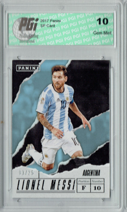 Lionel Messi 2016 Panini SP #LM Argentina World Cup SP #3/25 Card PGI 10