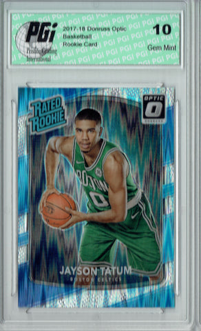 Jayson Tatum 2017 Donruss Optic Flash Holo Refractor #198 Rookie Card PGI 10