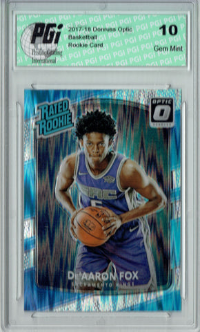 De'Aaron Fox 2017 Donruss Optic Flash Holo Refractor #196 Rookie Card PGI 10