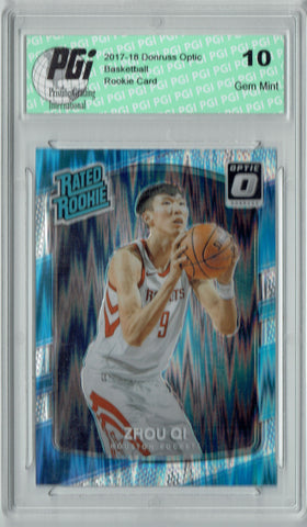 Zhou Qi 2017 Donruss Optic Flash Holo Refractor #151 Rookie Card PGI 10