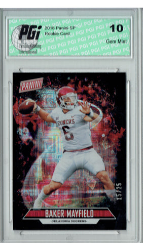 Baker Mayfield 2018 Panini SP #17 Escher Squares 25 Made Rookie Card PGI 10