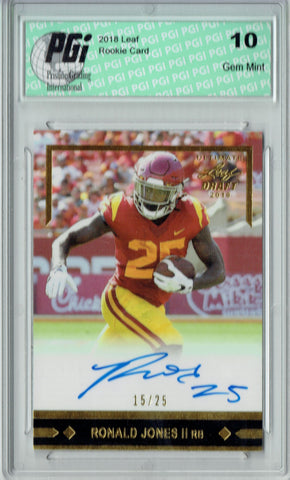 Ronald Jones II 2018 Leaf Football #GLR-RJ2 Auto, #15/25 Rookie Card PGI 10
