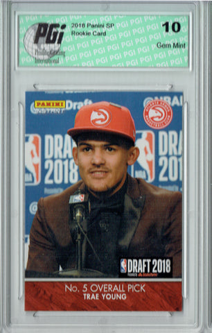 Trae Young 2018 Panini Instant #DN5 1/435, 1st Rookie Card Ever PGI 10