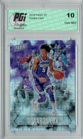 De'Aaron Fox 2017 Panini #56 Escher Squares 25 Made Rookie Card PGI 10