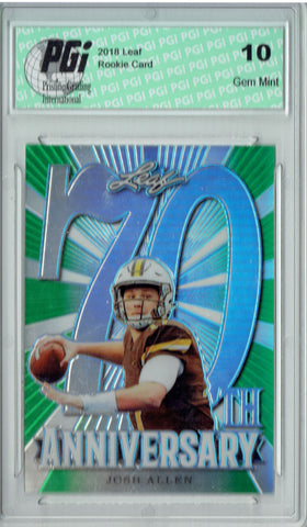 Josh Allen 2018 Leaf 70th #L70-03 Green SP Only 10 Made Rookie Card PGI 10