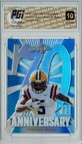 Derrius Guice 2018 Leaf 70th #L70-02 PRISTINE Blue 50 Made Rookie Card PGI 10