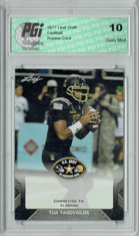 Tua Tagovailoa 2017 Leaf Draft U.S. Army #93 1st Ever Rookie Card PGI 10