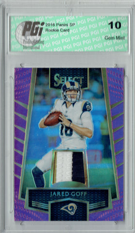 Jared Goff 2016 Select #25 3 Color Patch #25/60 Rookie Card PGI 10
