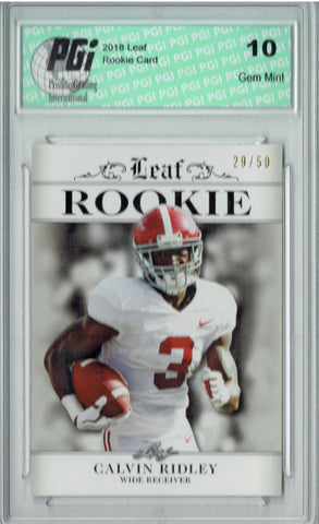 Calvin Ridley 2018 Leaf Exclusive #RA-05 Silver SP, 50 Made Rookie Card PGI 10