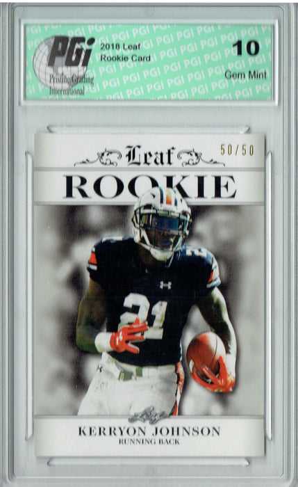 Kerryon Johnson 2018 Leaf Exclusive #RA-08 Just 50 Made Rookie Card PGI 10
