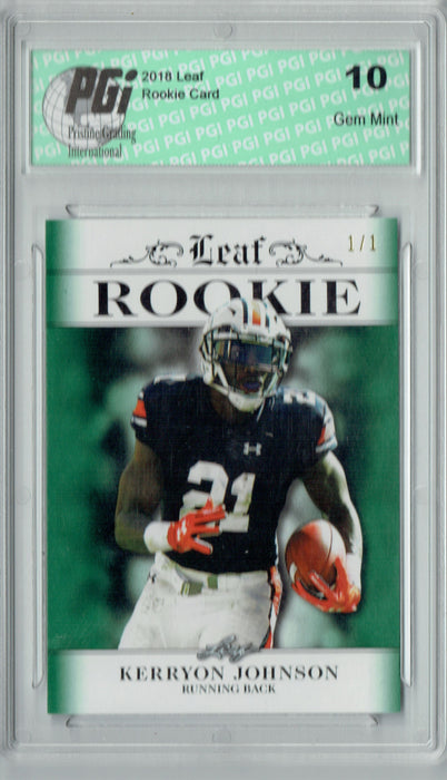 Kerryon Johnson 2018 Leaf Excl #RA-08 Green Blank Back, 1/1 Rookie Card PGI 10