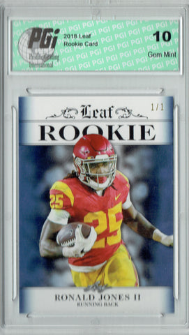Ronald Jones 2018 Leaf Exclusive #RA-14 Blue Blank Back 1/1 Rookie Card PGI 10