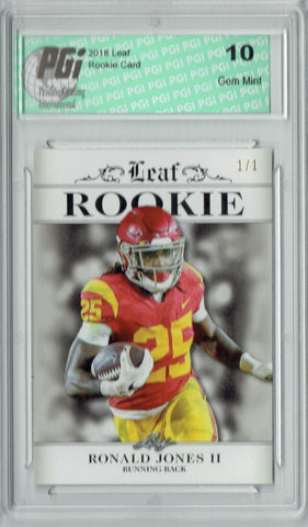 Ronald Jones 2018 Leaf Excl. #RA-14 Silver Blank Back 1/1 Rookie Card PGI 10