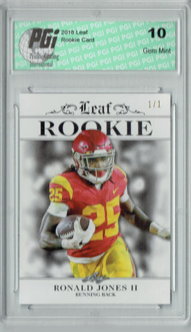 Ronald Jones 2018 Leaf Excl. #RA-14 White Blank Back 1/1 Rookie Card PGI 10
