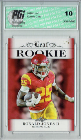 Ronald Jones 2018 Leaf Exclusive #RA-14 Red SP, #1 of 5 Rookie Card PGI 10