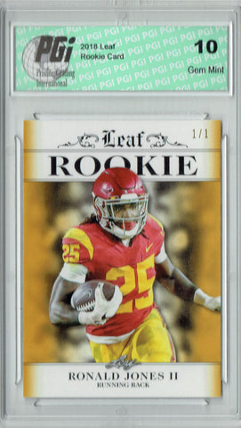 Ronald Jones 2018 Leaf Exclusive #RA-14 Masterpiece 1 of 1 Rookie Card PGI 10