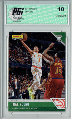Trae Young 2018 Panini Instant #23 Green SP, Only 10 Made Rookie Card PGI 10