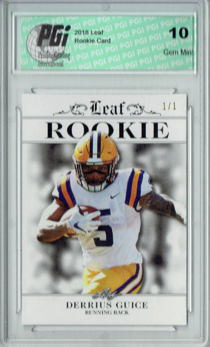 Derrius Guice 2018 Leaf Excl. #RA-07 White Blank Back 1/1 Rookie Card PGI 10