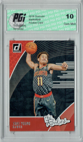 Trae Young 2018 Donruss #2 The Rookies SP Rookie Card PGI 10