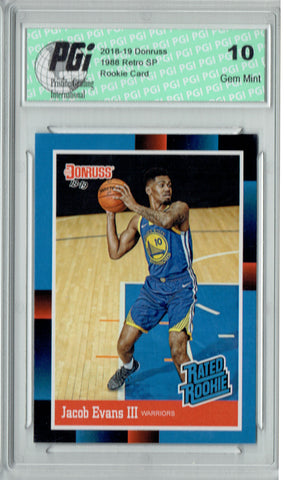 Jacob Evans III 2018 Donruss #RR26 1988 Rated Rookie Retro Rookie Card PGI 10